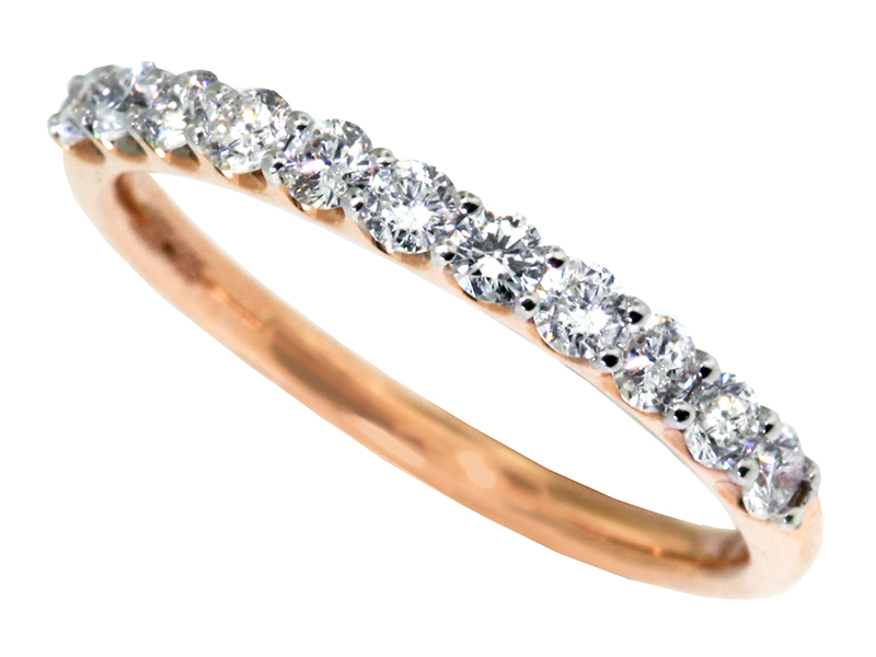 Shared Prong Rose Gold Diamond Wedding Band