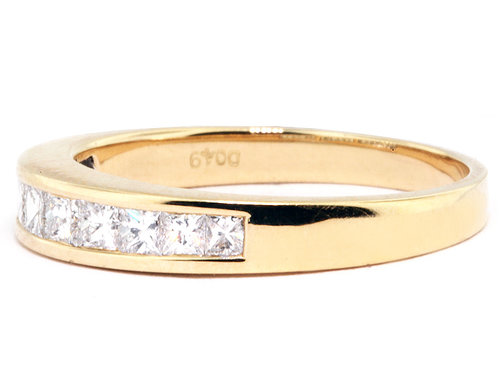 18K Yellow Gold Channel Set Diamond Wedding Band