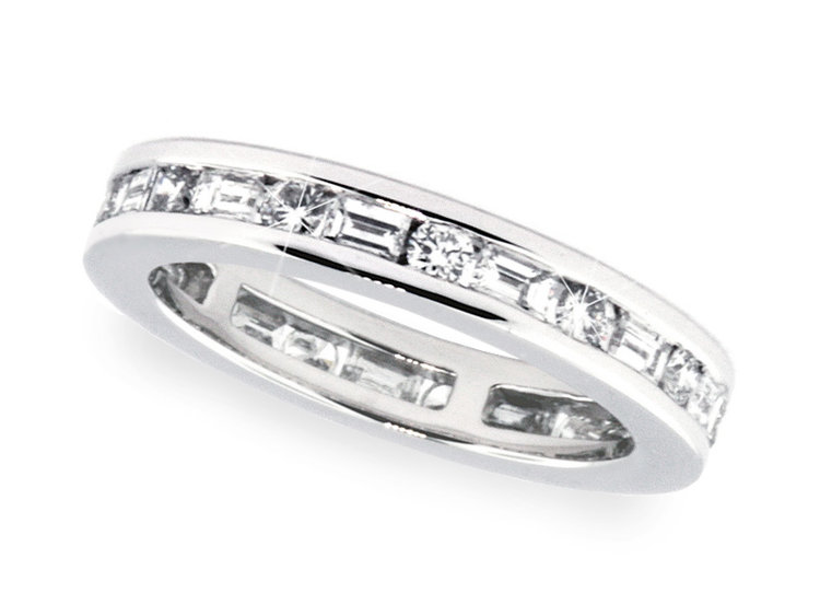 ring gold baguette diamond white band womens bands wedding