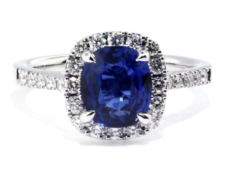 halo diamond in sapphire cornflower gold engagement ring white blue ceylon media