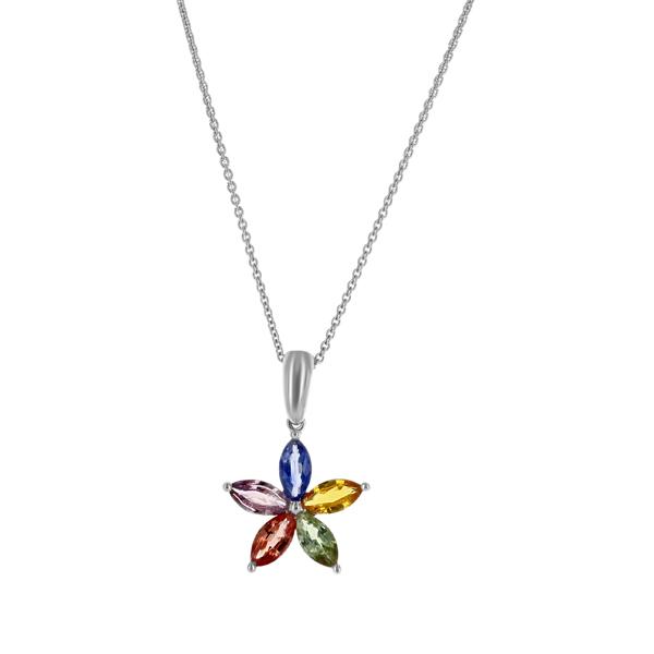 Multi colored sapphire star design drop pendant gemstone pendants multi colored sapphire star design drop pendant aloadofball Image collections