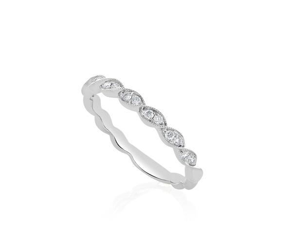 The 18k White Gold Petite Twisted Diamond Wedding Band Women S