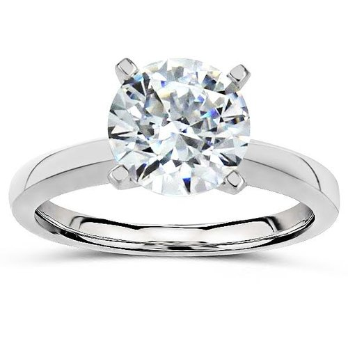 Platinum Tiffany style diamond solitaire engagement ring setting