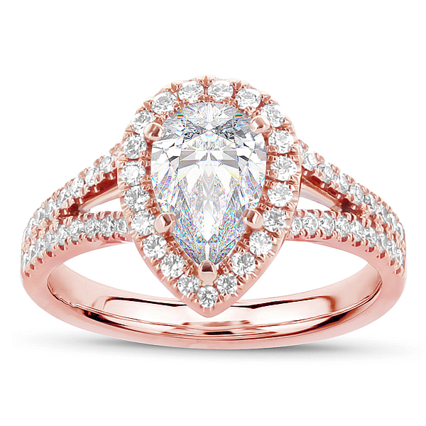 Atara Pear Shaped 14k Rose Gold Halo Engagement Ring Setting