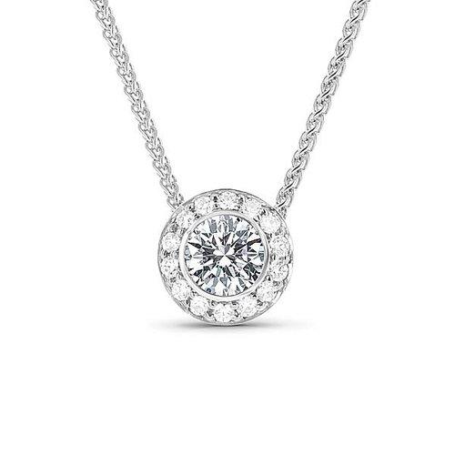 Platinum halo bezel set diamond pendant diamond pendants platinum halo bezel set diamond pendant mozeypictures Choice Image