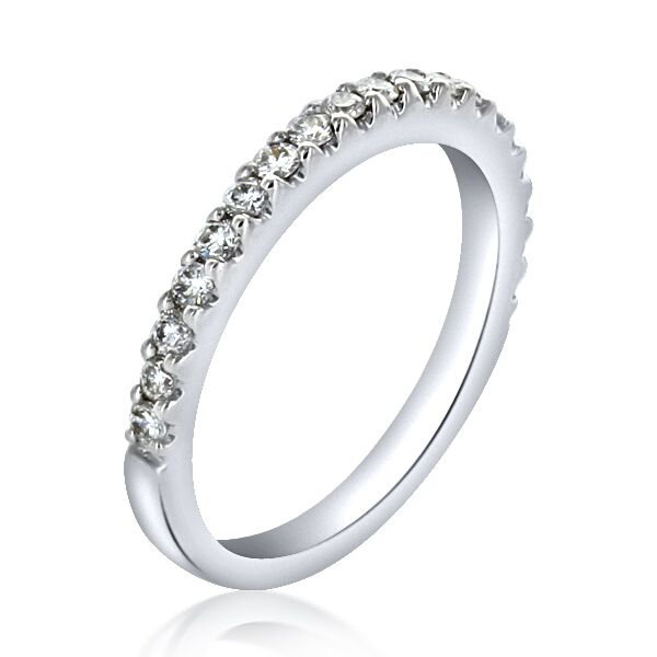 Platinum Thin Line Shared Prong Diamond Wedding Band   0.18cts ...