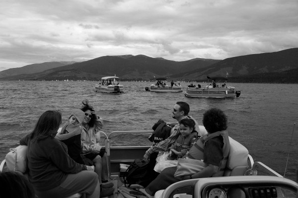 Post wedding ceremony pontoon parade on Lake Dillon.   |  photo[AllysiaAngus]