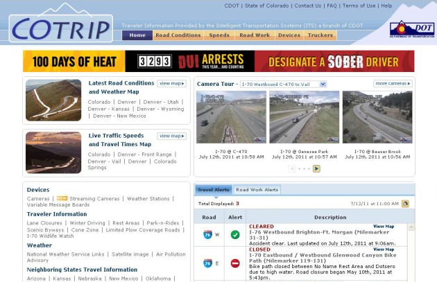 www.cotrip.org  |  Traveler Information Provided by the Intelligent Transportation Systems (ITS) a branch of CDOT