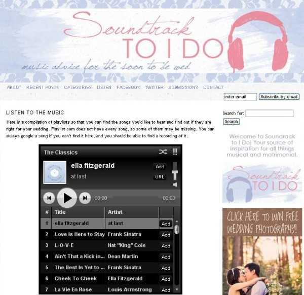 Soundtrack TO I DO:  music advice for the soon to be wed  |  soundtracktoido.com