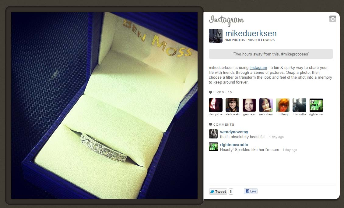 [Groom-er] Online Audience Follows Real-time Proposal Shared on Instagram and Twitter. #MikeProposes