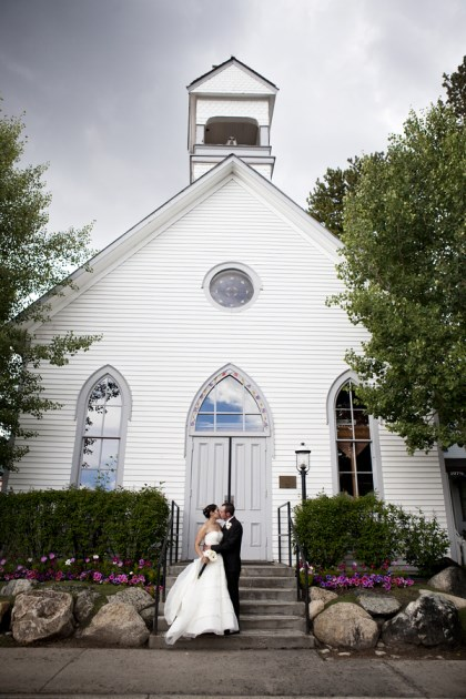 {Real Mountain Wedding} Dani + Joe: Ceremony at St. Mary's Catholic Church / Reception at the Silverthorne Pavilion.  Photo courtesy of April O'Hare Photography.