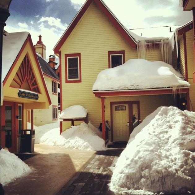 Piles of snow in Breckenridge, Colorado.