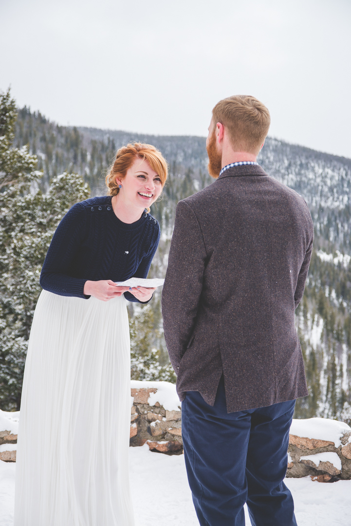 winter wonderland elopement at sapphire point overlook in dillon colorado