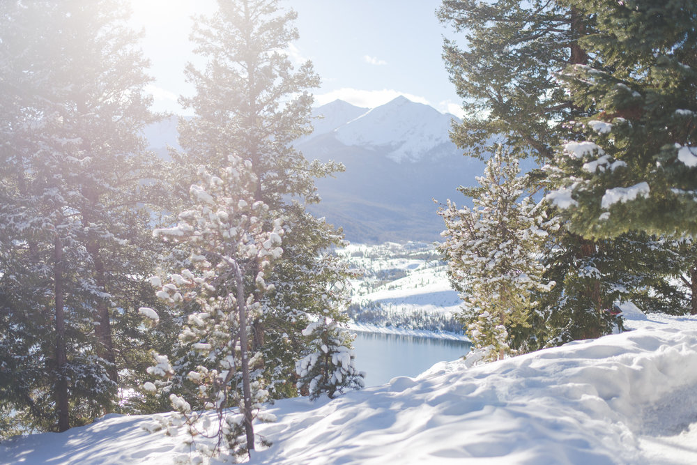 Sapphire Point overlooks Lake Dillon and Frisco, Colorado's Peak One in the distance, and is a stunning (and easy-to-get-to) location for outdoor weddings and elopements.