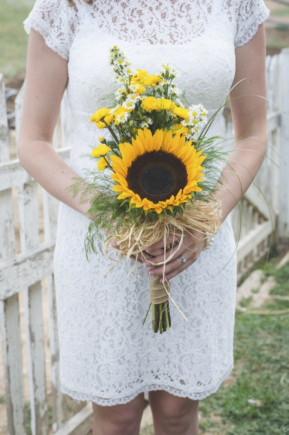 sunflower bouquet for country bride