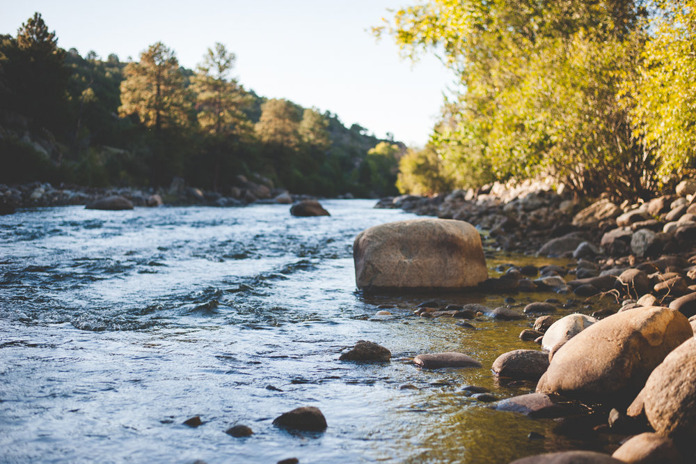 river running through buena vista, colorado at sunrise | Hello, MOther nature. Let's Be Friends. | How Summit Mountain Weddings practices being friendly to and conscious about our environment.