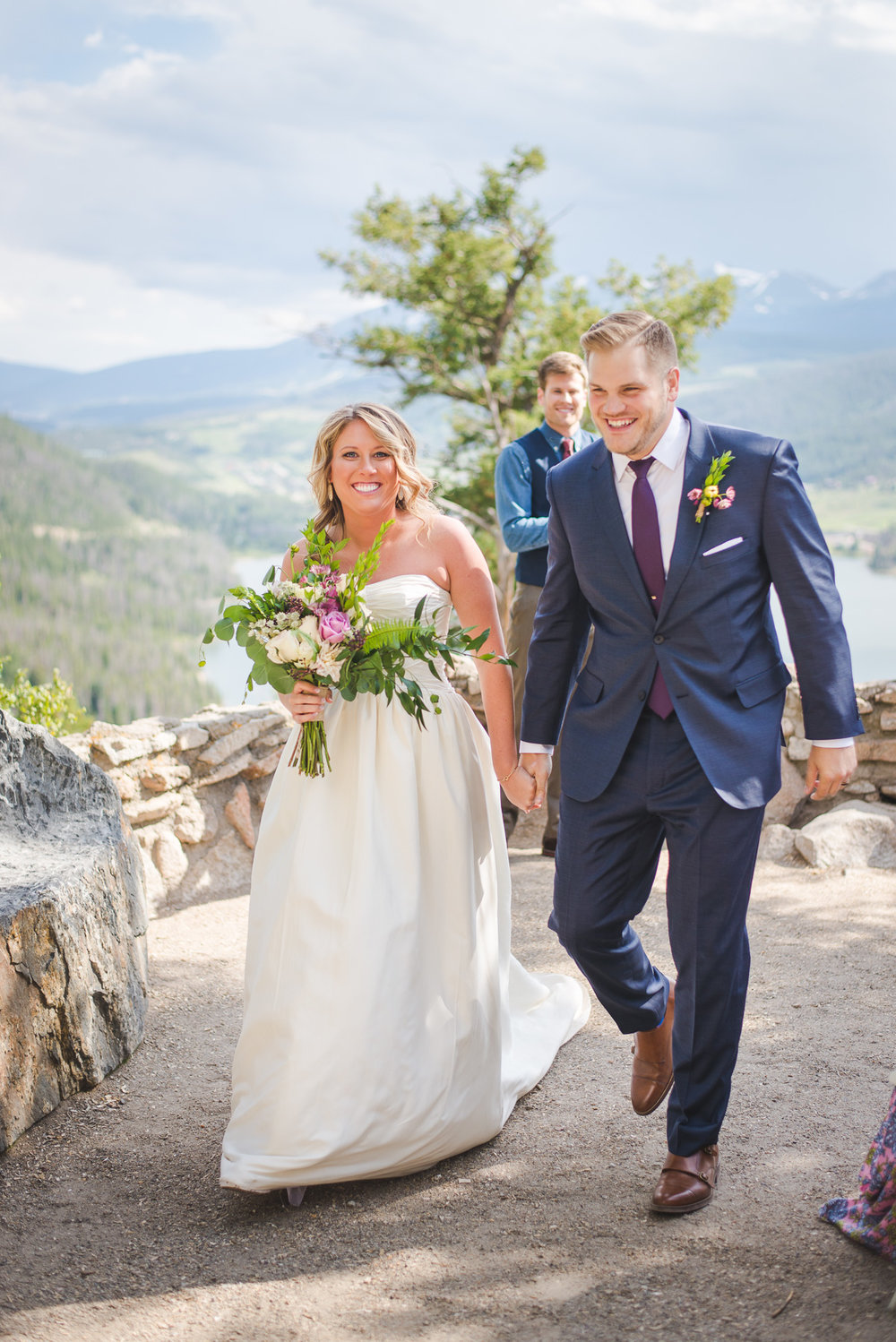 colorado bride and groom just married small wedding by lake dillon | summit mountain weddings
