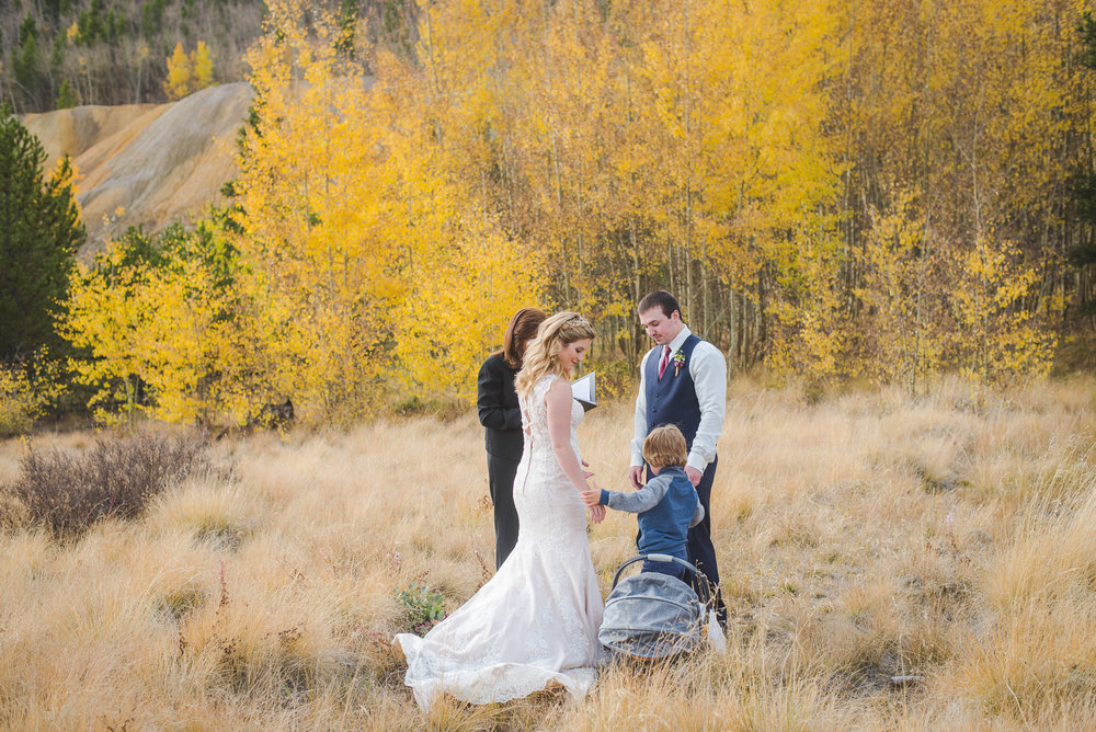 Autumn elopement in Breckenridge, Colorado | Two young boys | Summit Mountain Weddings