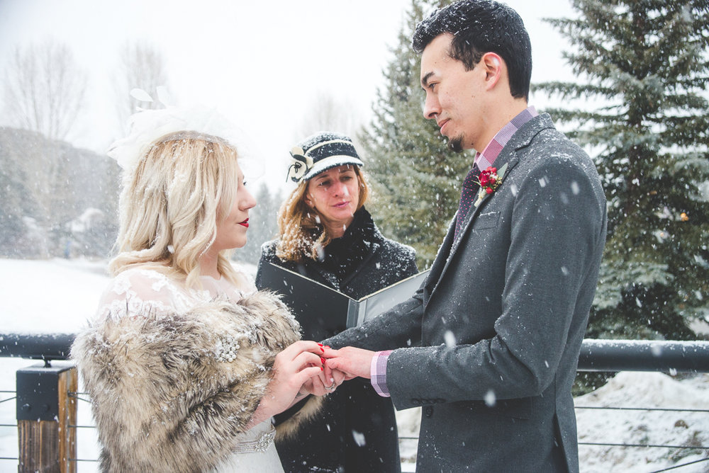 snowy breckenridge winter wedding in colorado rocky mountains | summit mountain weddings
