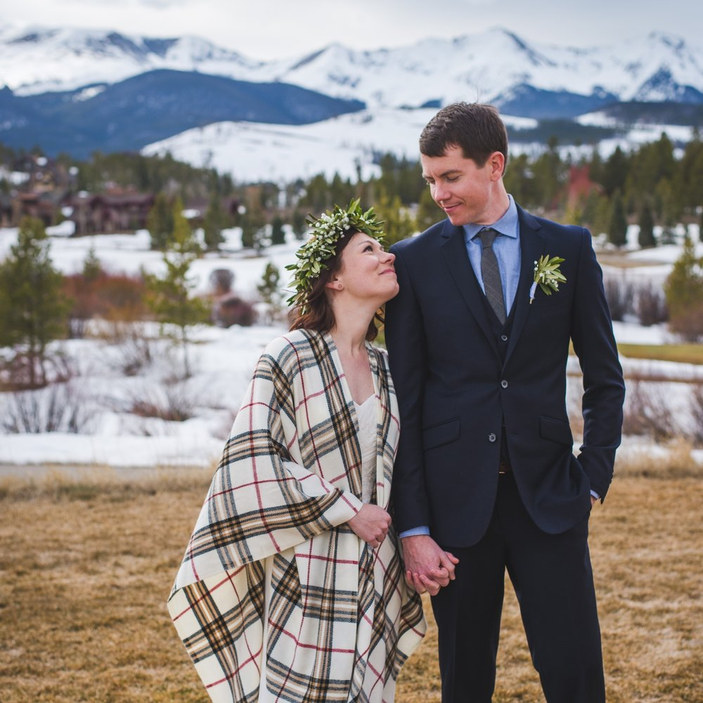 winter elopement breckenridge colorado flower crown