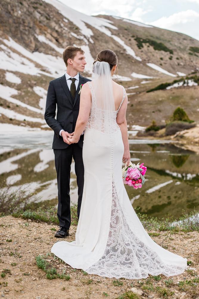 high alpine lake elopement colorado bride and groom