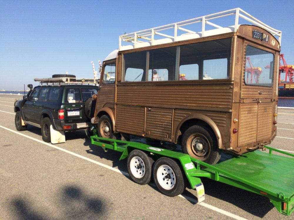 The Little Brass Van arrives in Fremantle port.