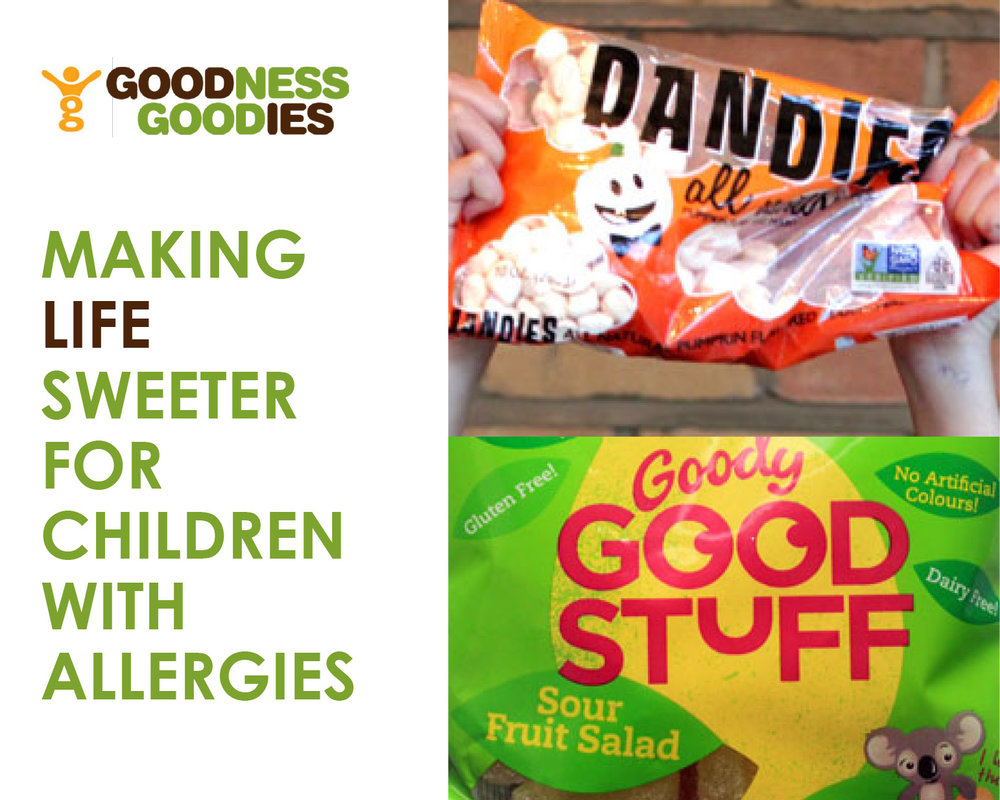 MAKING LIFE SWEETER FOR CHILDREN WITH ALLERGIES - Goodness Goodies stocks a wide range of leading brands catering for food allergies, vegetarians and vegans, including organic products that are free from dairy, nuts, gluten and gelatine.