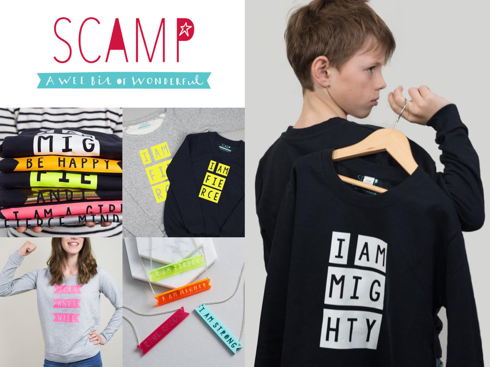 Scamp - A wee bit of wonder - Scamp uses mood boosting words and messages, on a range of great quality, ethically sourced products, to promote empowerment and encourage us all (kids and adults!) to think positively about ourselves. And they put their money where their mouth is! 10% of the proceeds of the sale of this range of products goes to the amazing children's mental health charity Place2Be to help support their work in schools. Be sure to scamp out and up with them!