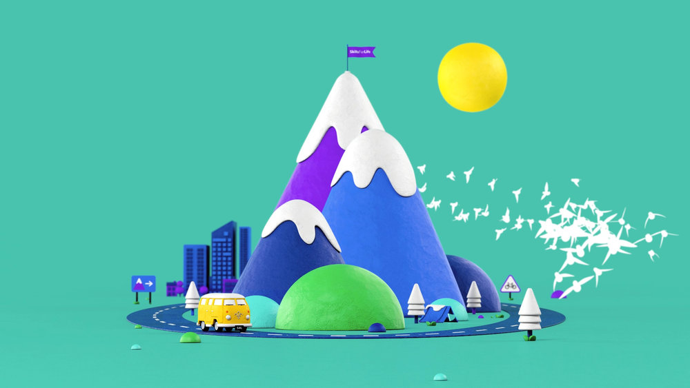 Scouts - Better Futures---Young-Illustration-&-Animation-Studio-Manchester-2D,3D, mountain, city, flock, flag, campervan -  3d modelling - ANIMATION.jpg