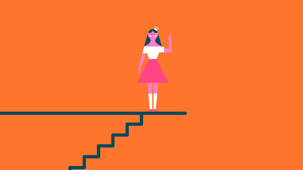 KATE, GIRL, CHARACTER, WAVING, STAIRS,-graphic---IDKT-about-the-BEATLES---Young-Illustration-&-Animation-Studio-Manchester-2D,-MOTION-GRAPHICS,-INFOGRAPHICS.jpg