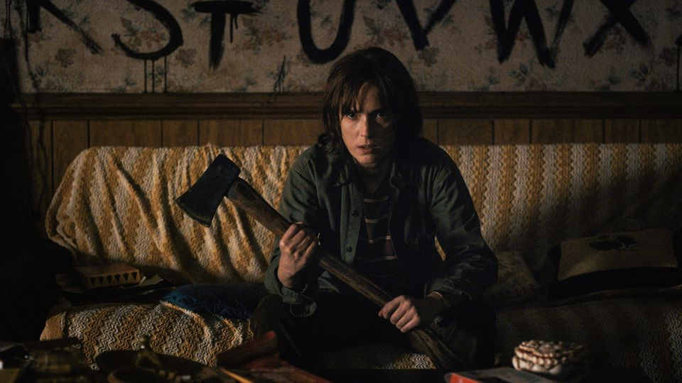 Stranger Things-inspired Ouija board costume - Get a plain t-shirt and paint the alphabet and letters onto it like the character Joyce does in the show. Maybe aquire some face paints and write on your face and arms as well for dramatic effect.