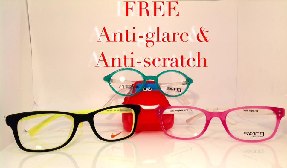 Free anti-glare and anti-scratch coating on all children's and student's glasses!