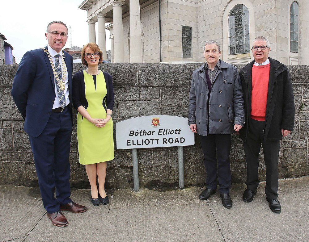 John and Rena attending the renaming ceremony of Grace Road to Elliott Road in honour of the Elliott sisters, Éilis and Emily.  They participated in the 1916 rising and were founding members of Cumann na mBan.