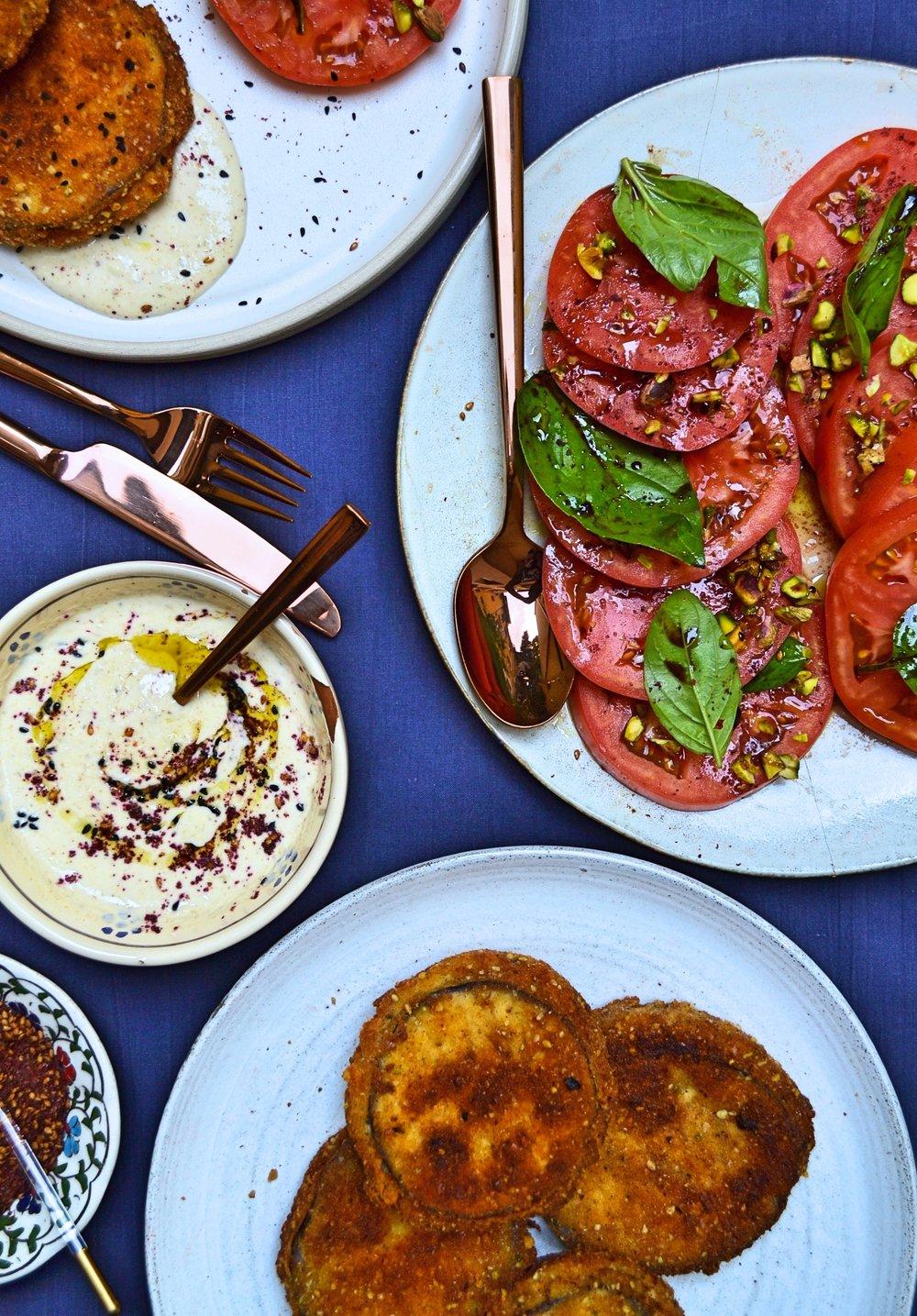 Патладжани бюрек с таханов сос със сумак и салата от домати, шамфъстък и нар -