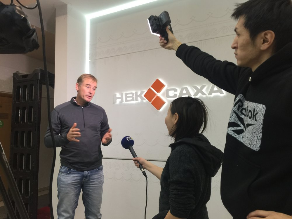 Being interviewed by Russia's National Broadcaster in the Russian Far East, Winter, 2018.