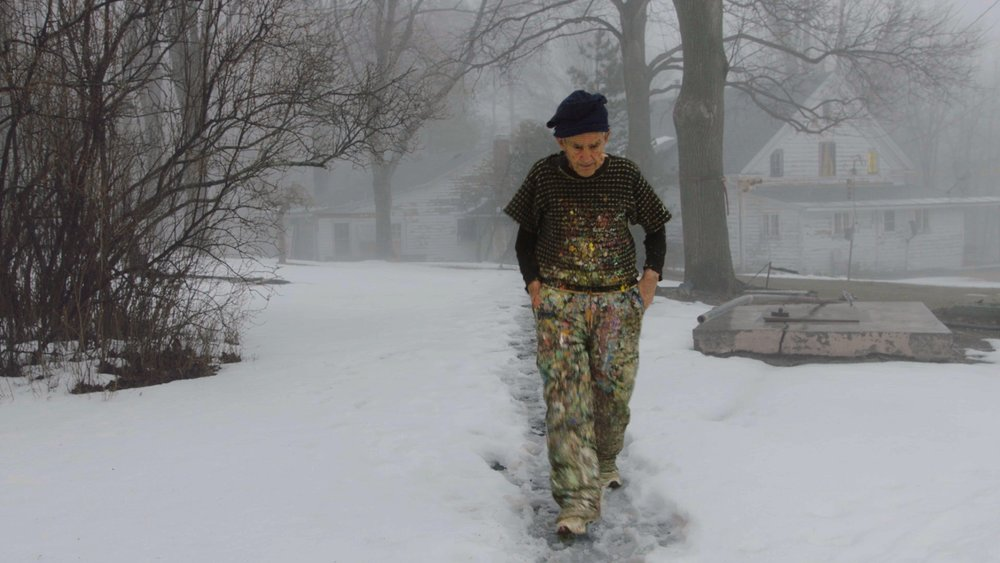 Painter Larry Poons walking to his studio in  The Price of Everything , directed by Nathaniel Kahn. Courtesy of HBO.
