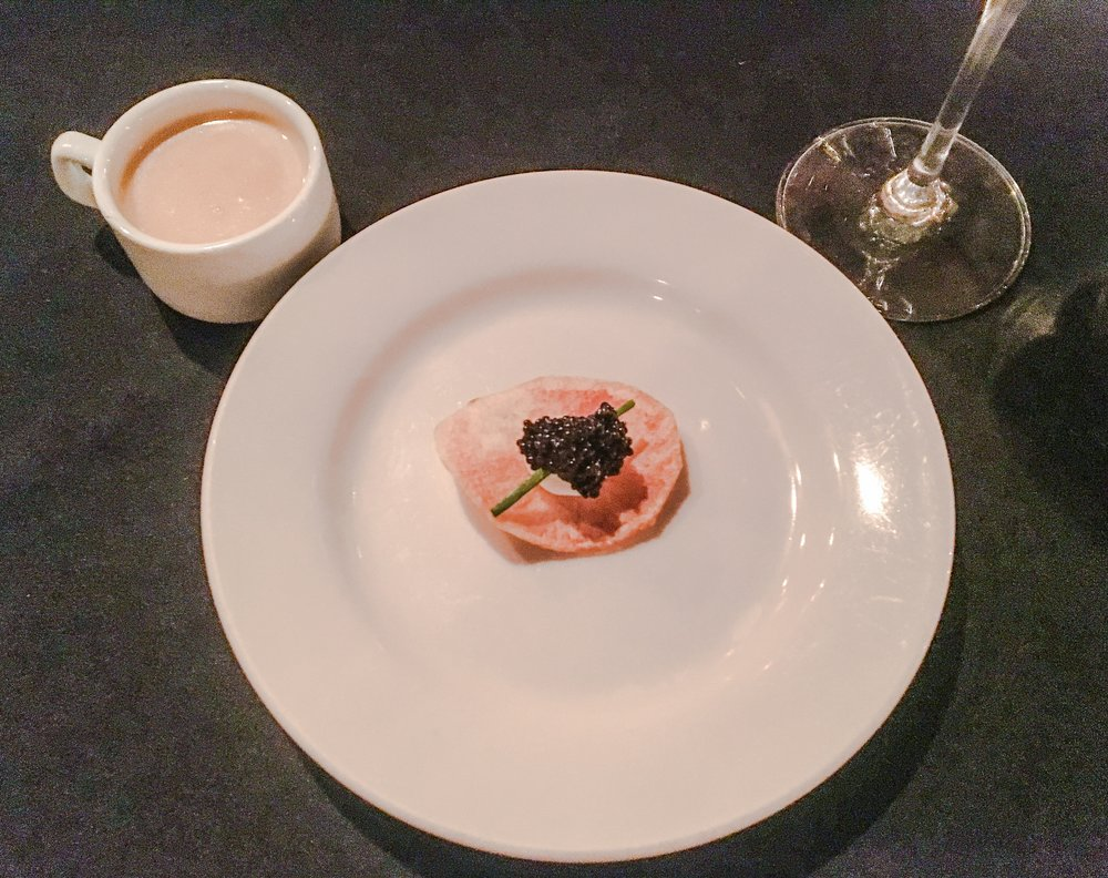 "Cup- Lobster bisque with Cognac; Plate - ""Million Dollar Potato Chip"" - freshly made potato chip with crème fraiche and caviar"