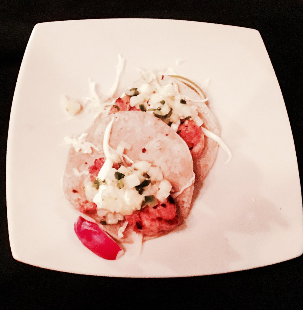 Camarones - Guajillo & Grapefruit Marinated Seared Shrimp, Cabbage, Crema, Watermelon Cucumber Salsa