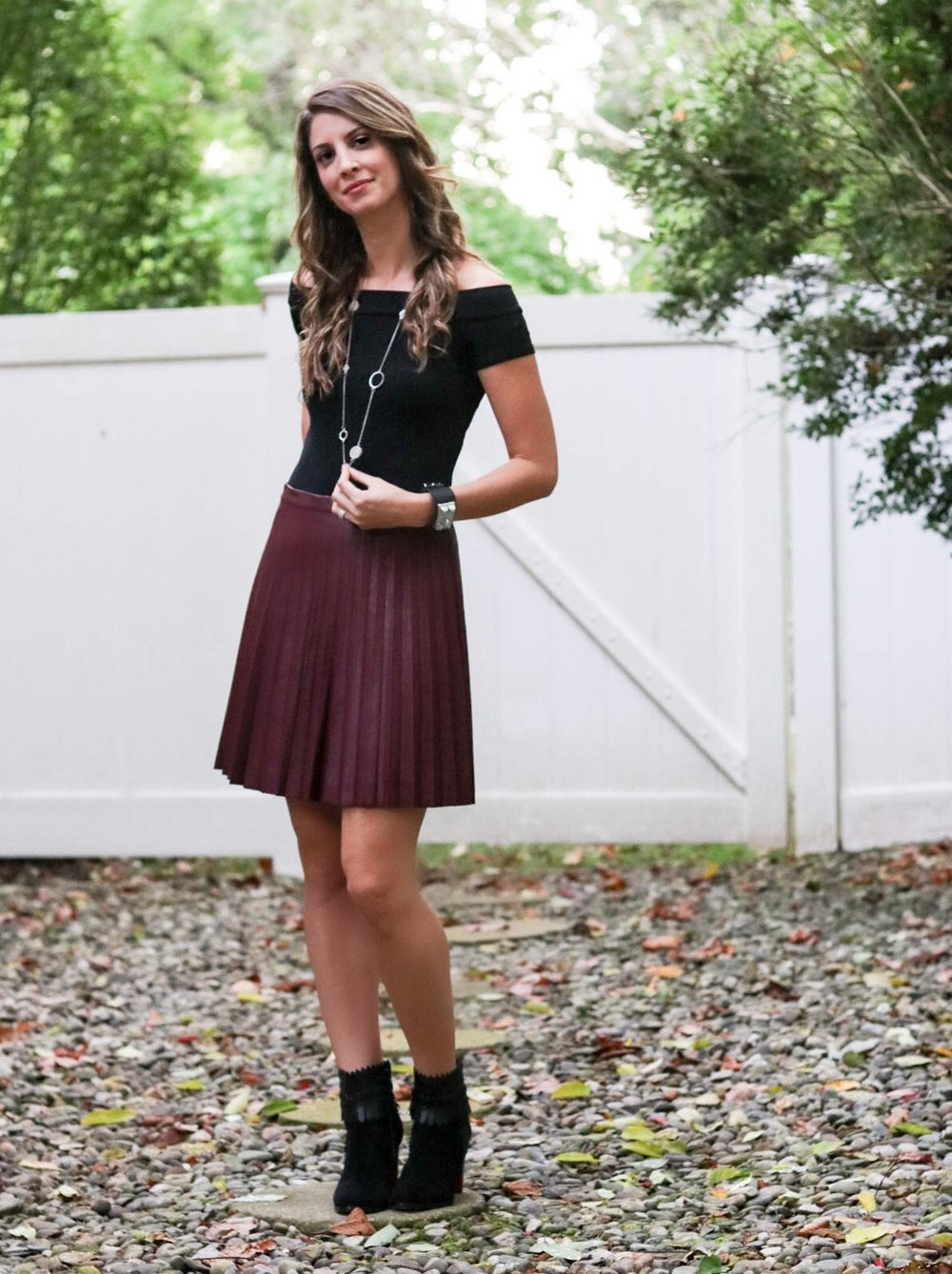 Date night - faux leather skirt and off the shoulder bodysuit