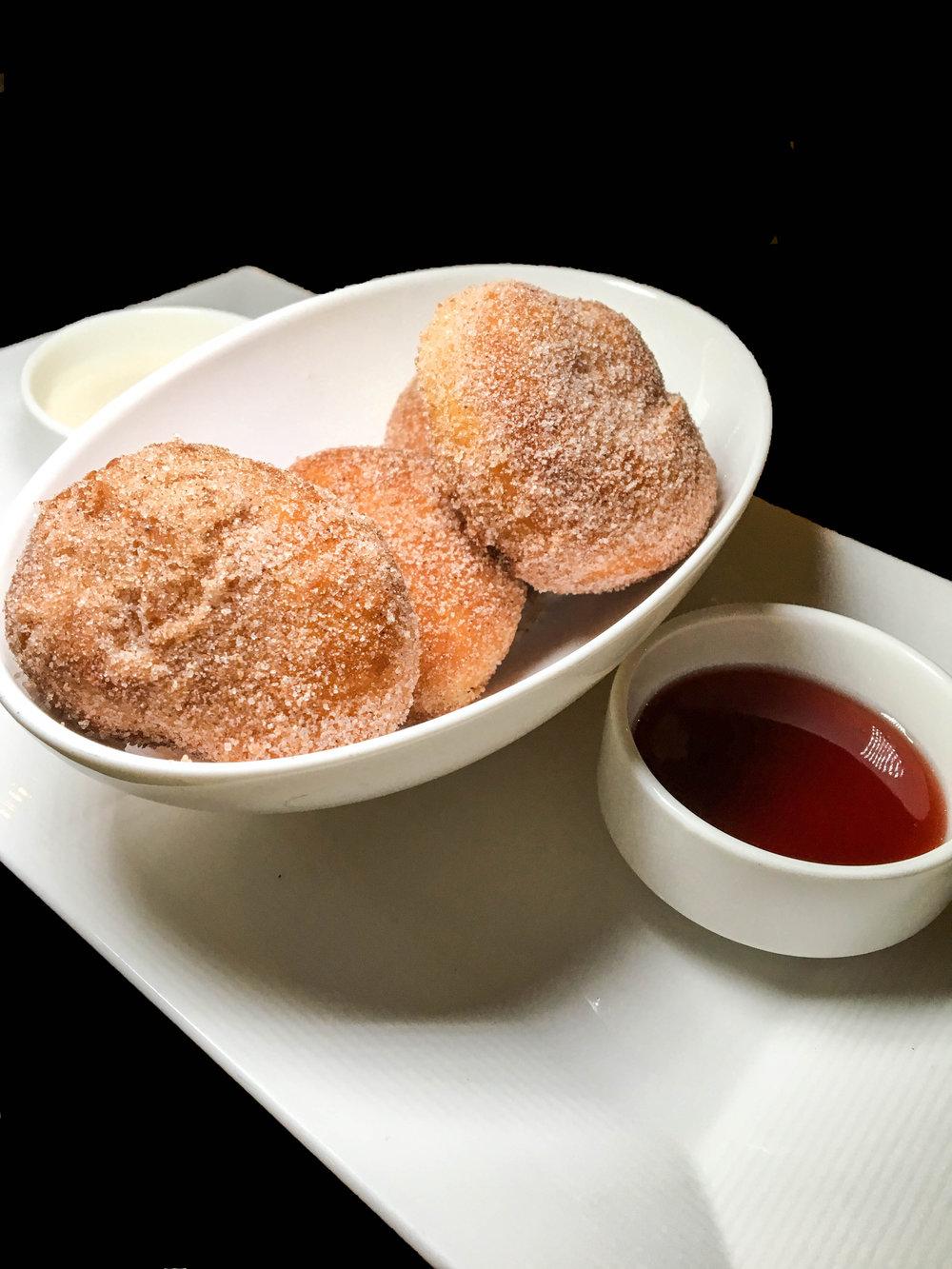 Warm Cinnamon Doughnuts - Raspberry Jam & Vanilla Cream Cheese Icing
