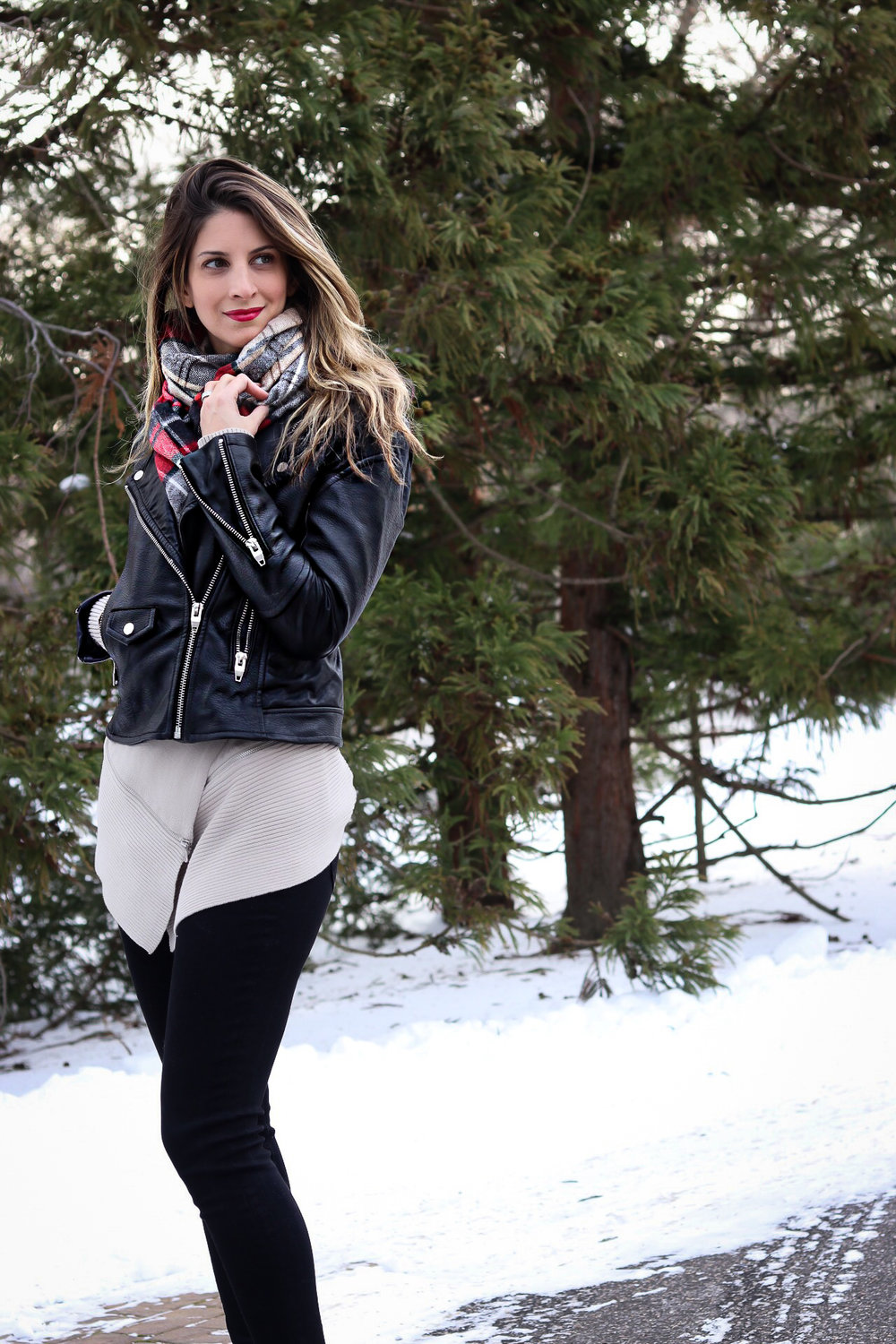 winter layers with leather fashionablefoodieny