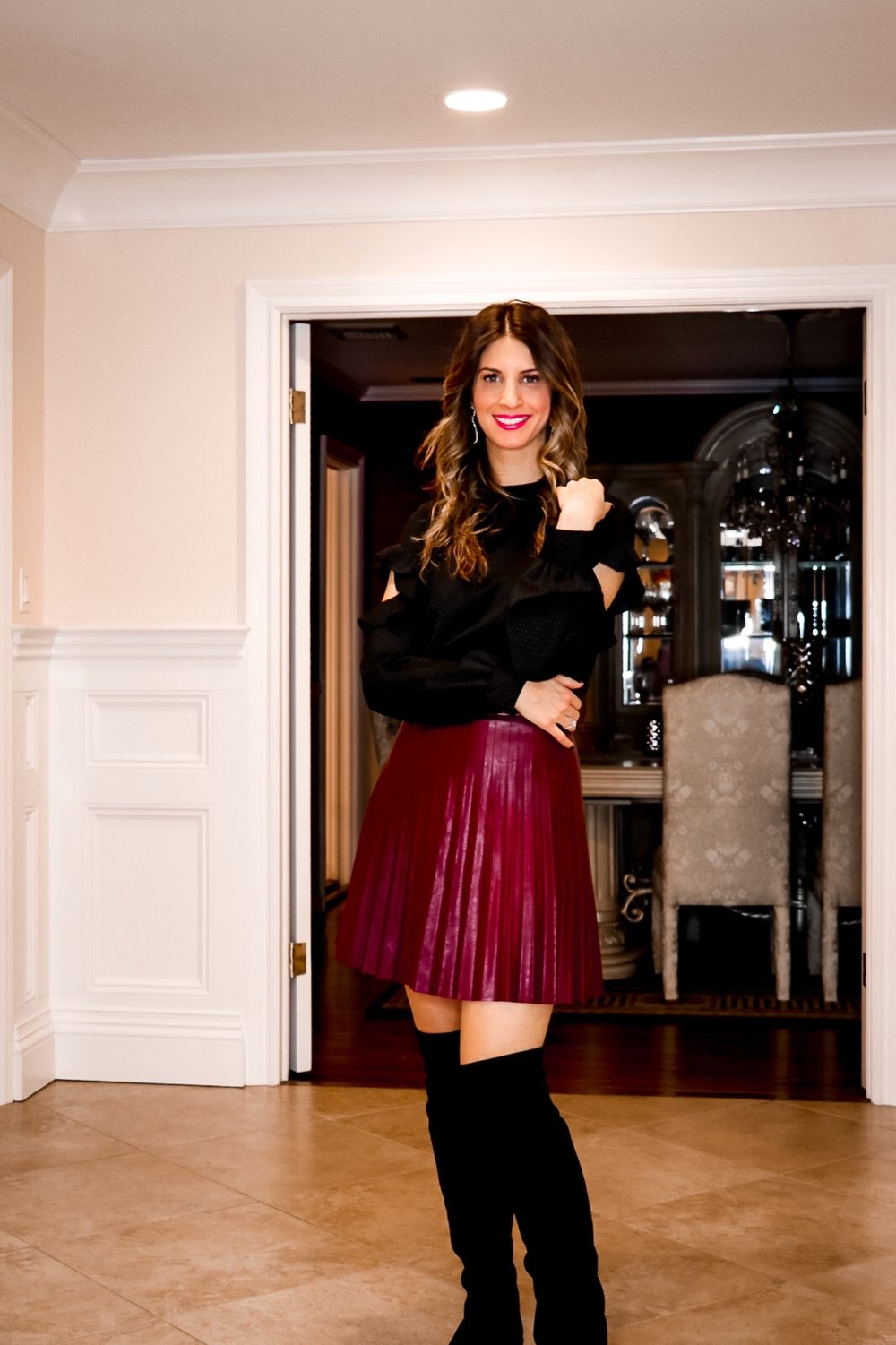 burgandy leather skirt and otk boots.JPG