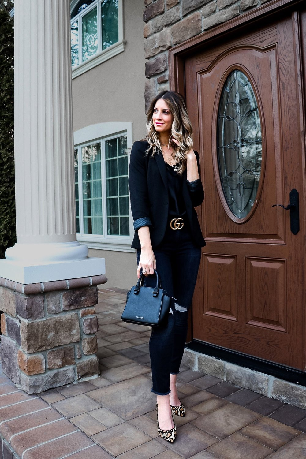All black outfit with leopard pumps