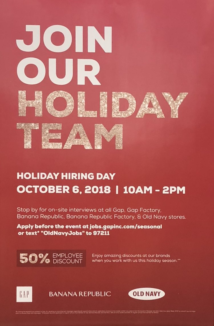 Old Navy Holiday Hiring Day — The Landing at Tradition & Tradition ...