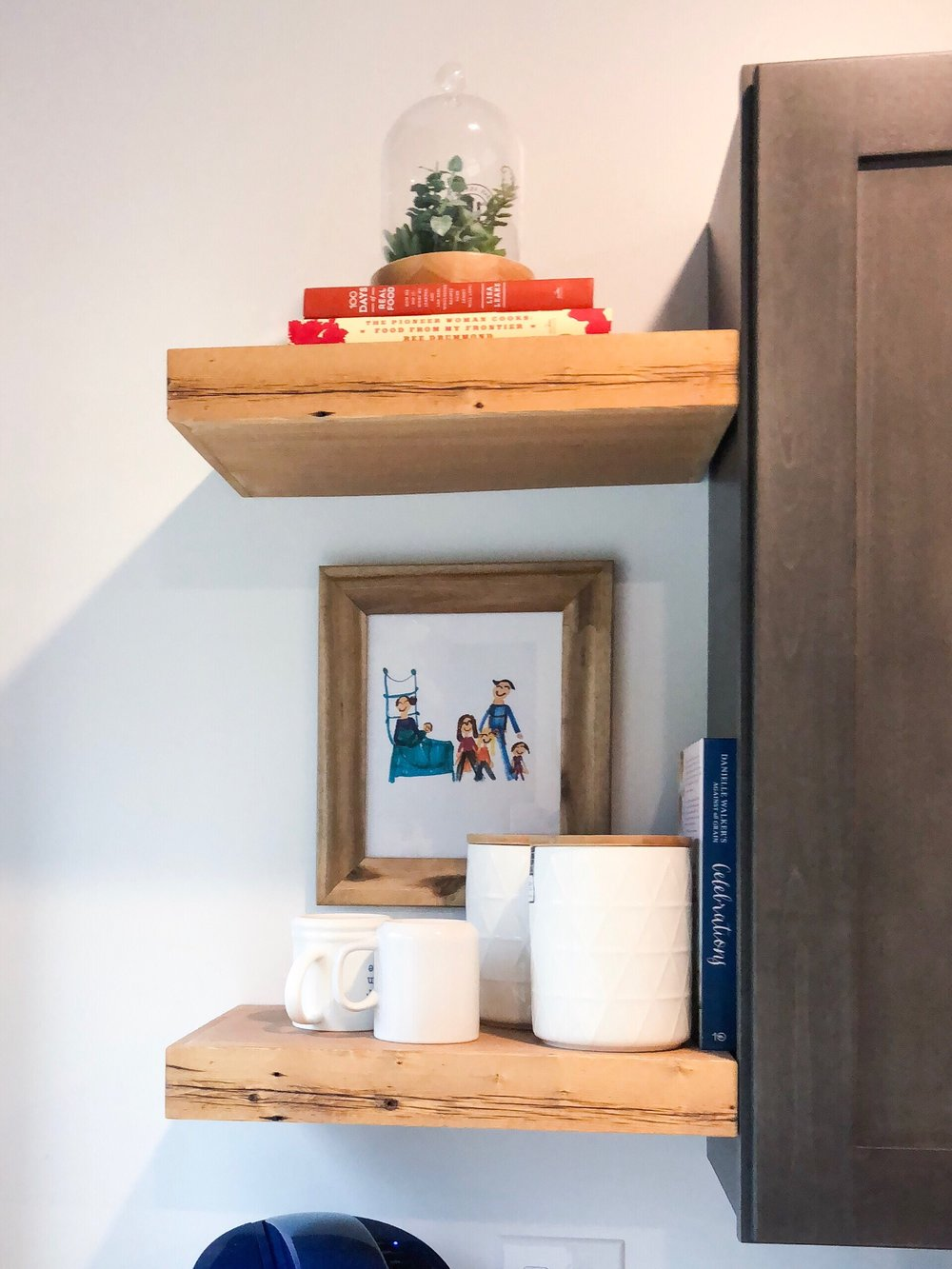floating shelf in kitchen