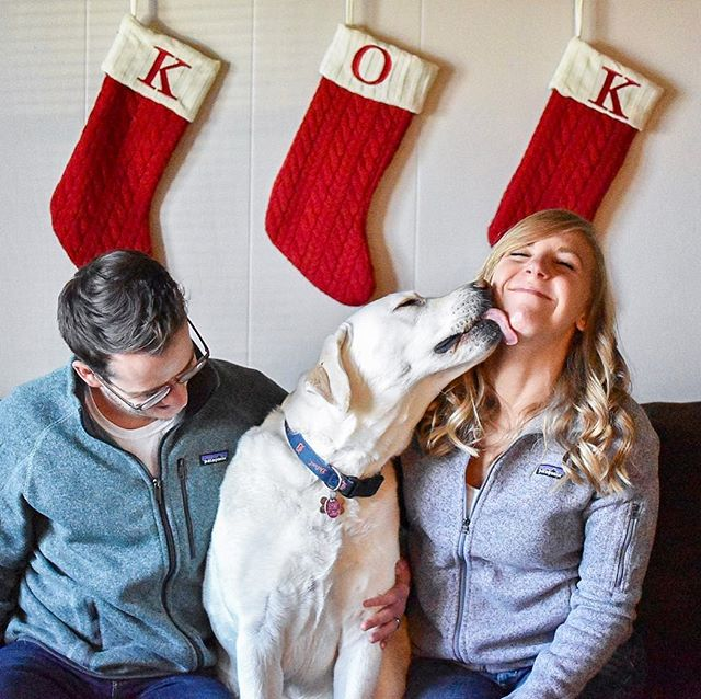 #ad Throwback to our Christmas card photo shoot! Taking a picture with your husband and your dog at justtttt the right moment isn't as easy as it seems. This photo is completely candid and sums up all the love that is shared in our home. ICYMI, I partnered with Michigan State Housing Development Authority and shared a post about being home for the holidays and what it means to me. I know the holiday season is basically over at this point, but if you're winding down for the night, head on over to the blog and check it out (link in bio). I took a break from social media and disconnected over the holidays which was one of the things I discussed in my post. It felt great to spend quality time with loved ones and now I feel refreshed and ready to start the new year!  Did you have a nice holiday season? How did you celebrate with family and friends? I'd love to hear what you've been up to, so drop me a comment below! 👇🏼 • • • • • #holidays #stockings #family #photo #familyphoto #dog #dogsofig #whitelab #labradorretriever #puppy #love #christmas #familyportrait #doggie #smile #laugh #gooddog #michigan #mshda #millennialblogger #michiganblogger #midwestblogger #millennialonthemove