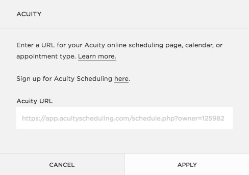 Acuity with Squarespace