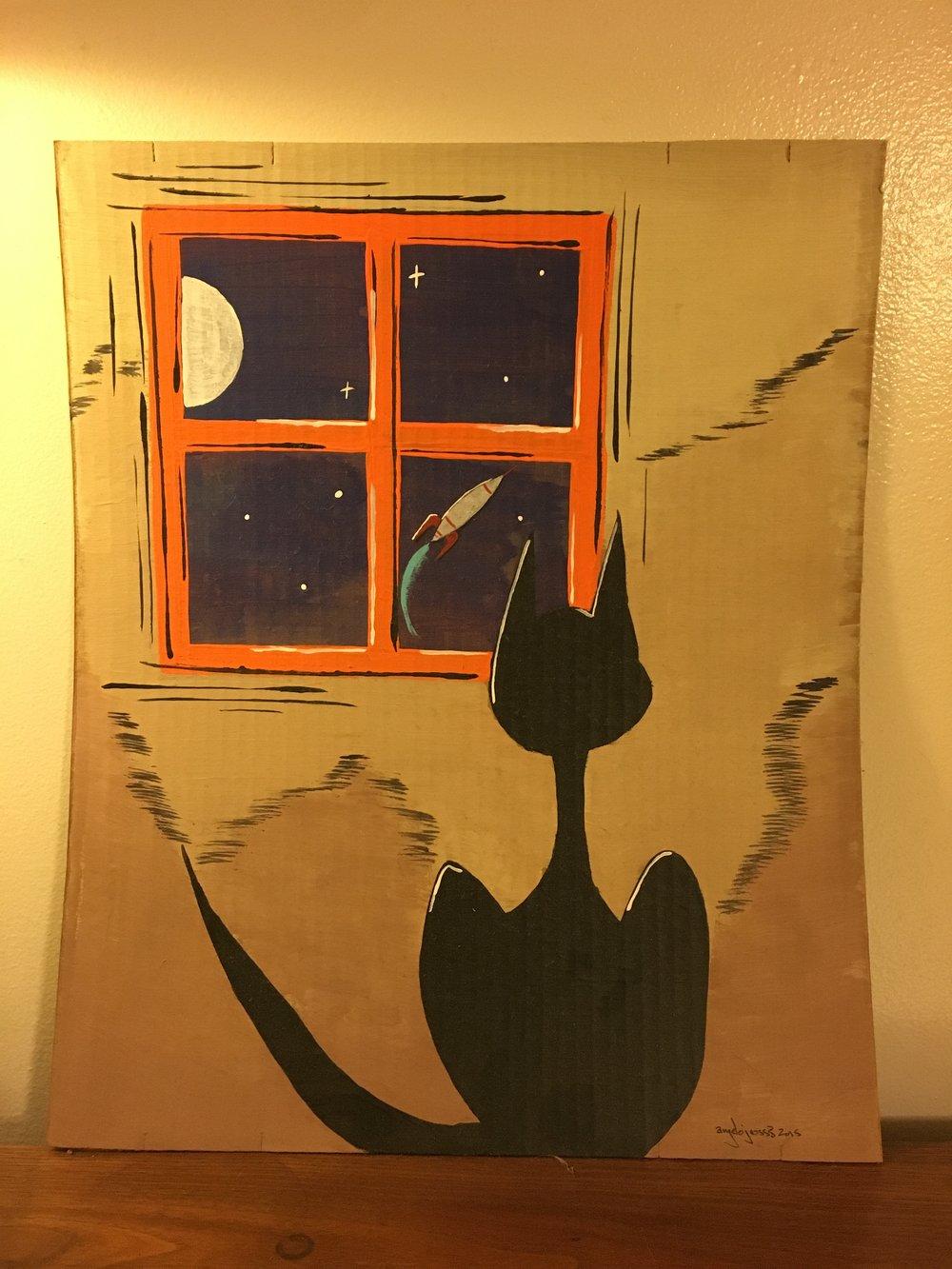 Bye.  Acrylic on cardboard