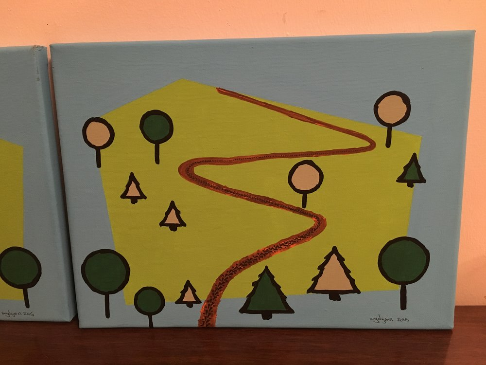 Dirt trail.  Acrylic on canvas