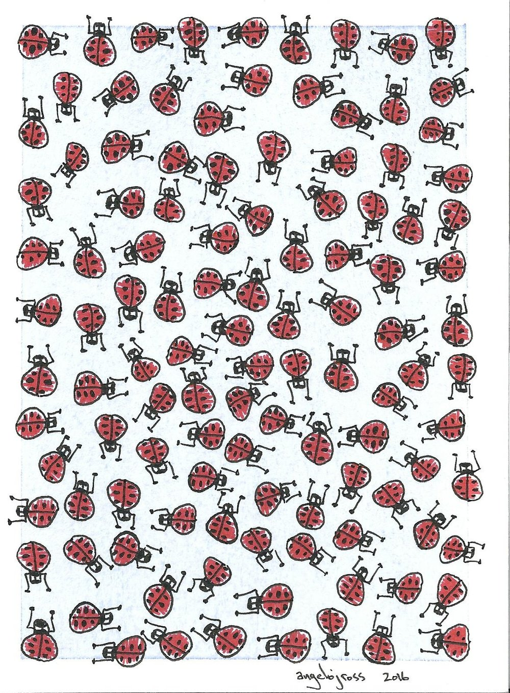 113 Bugs.  Pen and ink
